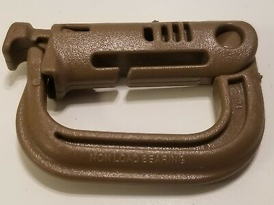 Six(6)New Military MOLLE PALS GrimLoc D-Ring Carabiner Locking Clips Coyote