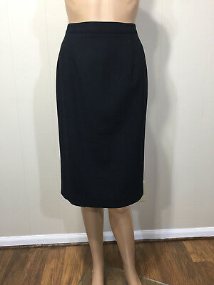 Talbots Really Nice Womens US Made Vintage Black Fully Lined Wool Skirt Sz 10