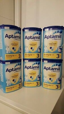 6x Aptamil with Pronutra+ Growing Up Milk Stage 3 1-2yrs, 900g. Brand New Sealed