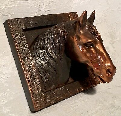 Vintage Solid Copper Framed 3D Horse Head Raised Relief Sculpture Wall Hanging.