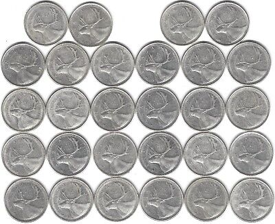 1963 Canada Silver Quarter Dollar 25 cent collection twenty-eight (28) coins