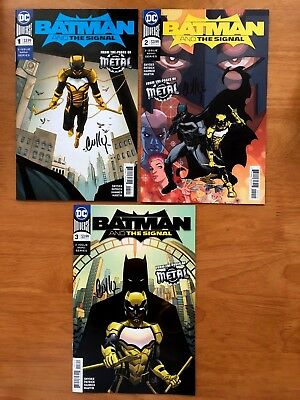 Batman and the Signal 1, 2, 3 Metal Tie In *SIGNED CULLY HAMNER *  DC  2018 NM+