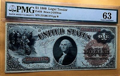 1880 $1 One Dollar Large Us Note Pmg63 Choice Unc Fr#29 Vivid Color Stunning