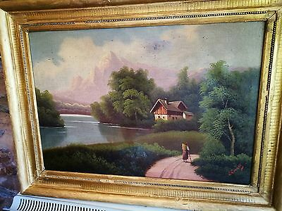 Original Antique 19th Century French OLD MASTER OIL PAINTING mountain Scene