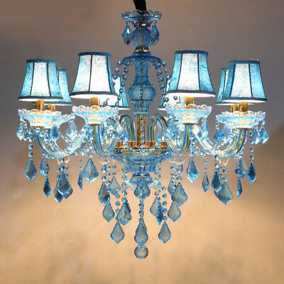Luxurious Blue Crystal Ceiling Pendant Lights Chandelier Lighting Candle Lamp