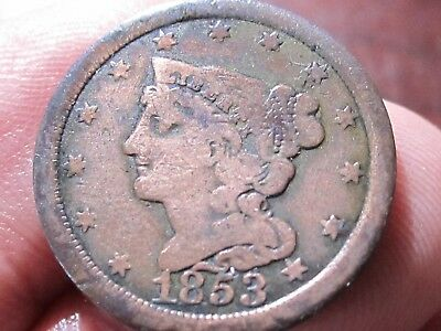 1853 Half Cent - Braided Hair Type - Very Good cond - Collectible Type Coin