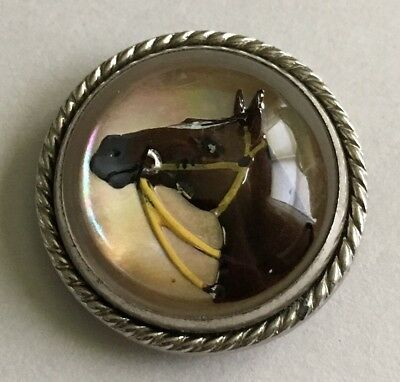 Vtg Race Horse Painted Under Glass Clip Pin Scarf Pin
