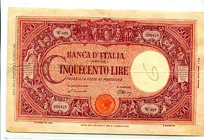 Italy 500 Lire 1943 Very Large Note F+ 13.95