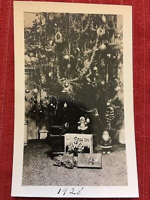 1928 Photo of Decorated Christmas Tree and Toys