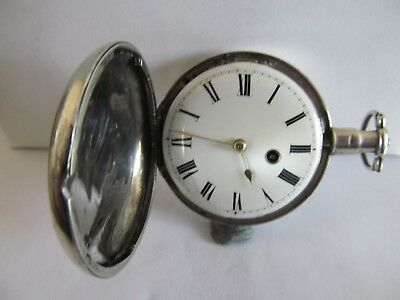 1787? fusee verge full hunter pocket watch square pillars movement not working