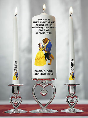 Personalised Beauty And The Beast Wedding Unity Candle Set Gift