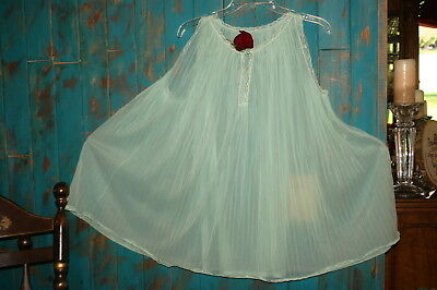 Vintage Green Short Pleated Chiffon Babydoll Nightgown 60's Size Large-Xl