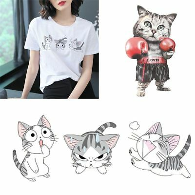 Clothes Household Heat Transfer Stickers Cat Patches Print Iron On Appliques