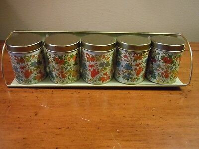 Vintage Tin Floral Spice Cans And Metal Rack / Brazil
