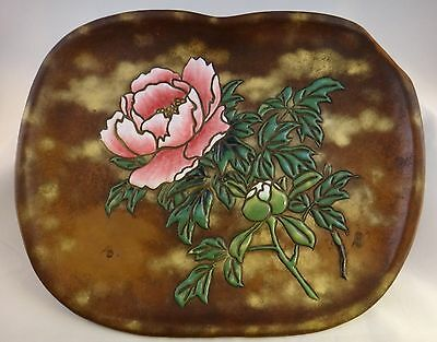 "Vintage Japanese enamel on copper tray w/raised enamel, 13 3/8"" x 10 ¾"""