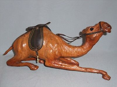 "All leather 15"" CAMEL sculpture w/ SADDLE molded LEATHER smiling Camel VINTAGE"