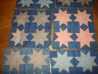 8 Hand Pieced Quilt Squares Antique 12""