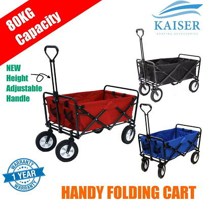 New Improved Handle Garden Cart Trolley Hand Folding Trailer Wagon