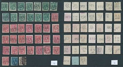 38 different die/face Edward VII Perfins. Values up to 10c. RF up to D - Inspect