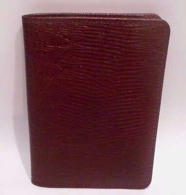 Embossed Reptile Pattern, Beautiful Burgundy Color Leather Passport Holder