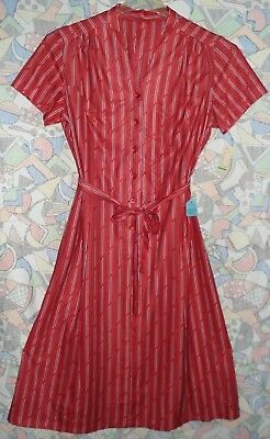 Vintage Red Striped Dress Size 16.5 New