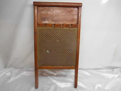 Antique RUB E-Z WASHBOARD Smith Bros. Hardware Columbus Ohio Brass Wood Old Vtg