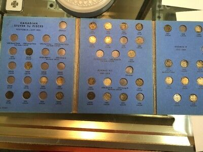 Canada Silver 5 Cent Coin Lot Book Of 34