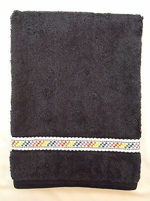 Brand New Cross Stitch Hand Towel-Navy-White Aida-Bright Squares-Great Gift