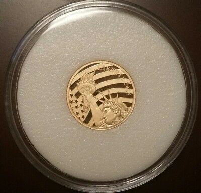 2018 Cook Island $5.00 1/10 oz .24 Pure Gold Statue Of Liberty Sealed Coin