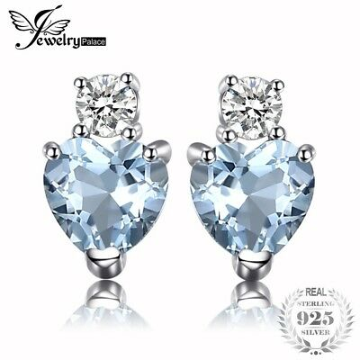 JewelryPalace Heart Love 1ct Natural Aquamarine White Topaz Post Stud Earrings F
