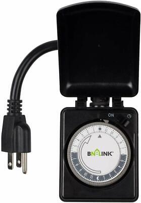 Century Outdoor Timer 24 Hour Mechanical Plug in Heavy Duty Outlet Dual Outlet