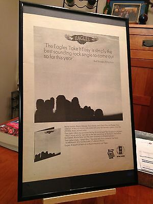 "Big 11X17 Framed The Eagles Debut ""Take It Easy"" Lp Album Cd  Promo Ad + Bonus!"