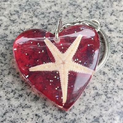 noble red  heart insect starfish jewelry  sea star  red heart key-chains  bw001