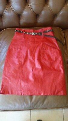 Women's XS-Sml Red 80sVintage Pencil Pin Up Wiggle Fitted Lined Leather Skirt