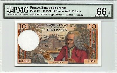 France 1970 P-147c PMG Gem UNC 66 EPQ 10 Francs