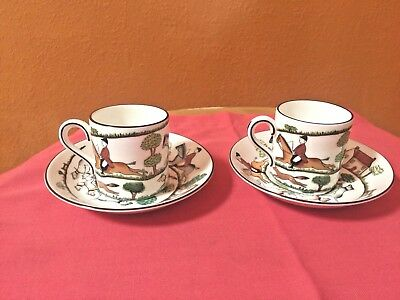 2 Coalport Hunting Scene Demitasse Cups and 2 Crown Staffordshire Saucers