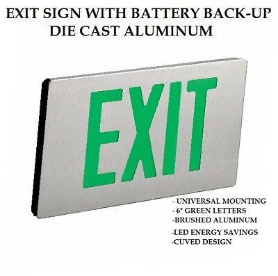 Die Cast Aluminum Exit Sign with Battery Back-up Green Letters