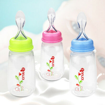 Baby Silicone Squeeze Feeding Bottle With Spoon Food Rice Cereal Feeder 150ML