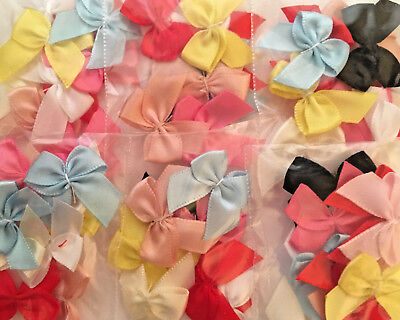 10 Satin Ribbon Bows 23mm Wide Assorted Colours for Craft & Card Embellishment