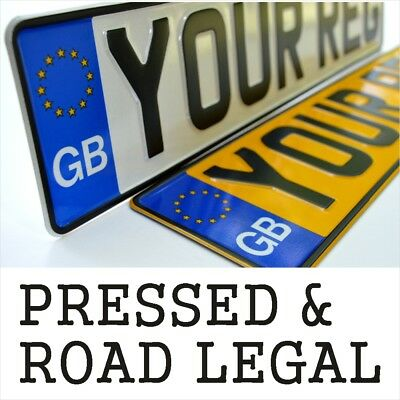 GB BADGE Pressed Number Plates Metal Car Registration Embossed Reg UK Road Legal