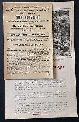 Handouts - Tour by Diesel Express Train Mudgee, Cessnock + others -1958