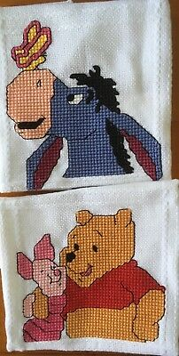 Winnie the Pooh, Piglet and Donkey cross stitch on cotton, unfinished project