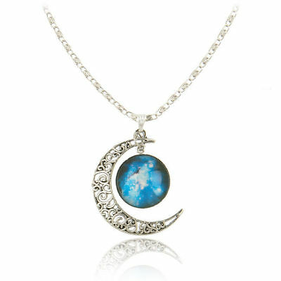 Silver Necklace with Galaxy Glass Crescent/Moon Pendant