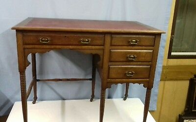 victorian oak writing desk,kneehole writing table on casters