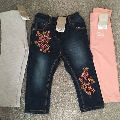 Girls embroidered jeans and leggings. Next size 12-18 months BNWT