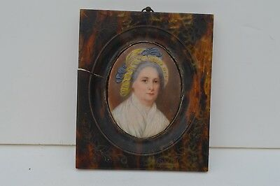 19 Century Antique Hand Painted Miniature Portrait Of Martha Washington