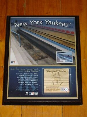 New York Yankees Home Dugout Bench Display with Certificate of Authenticity
