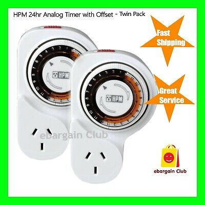 2x HPM 24 Hour Analog Timer With Offset Mechanical Power Point eBargainClub