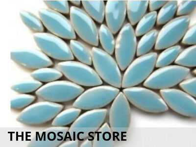 Light Blue Ceramic Petals - Mosaic Tiles Supplies Art Craft