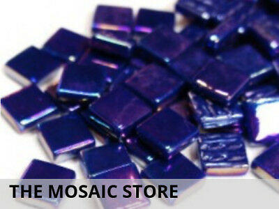 Royal Blue Iridised Glass Mosaic Tiles 12mm - Mosaic Art Craft Supplies